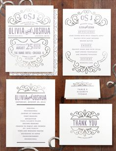 Simple funky invite set