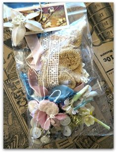 I love finding these little goody bags! Karla's Cottage. - Vintage Embellishments