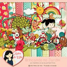Kit Digital Brincando no Jardim by Vika Matos - R$13,00 : Boutique do Scrap