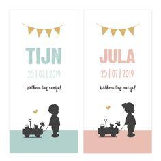 Dit formaat geboortekaartjes is sinds kort beschikbaar op onze website! En dat betekent nog meer leuke kaartjes, zoals deze met silhouetten. #silhouet #trend #geboortekaartje