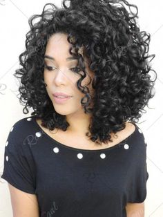 2018 Medium Side Fringe Curly Synthetic Wig In Black -