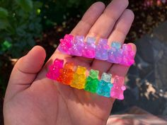 The Original BEARette: Gummy Bear Hair Barrettes and Clips! get ready to go gaga for these gummies! go classic with RAINBOW! Mini Things, Things To Buy, Hair Barrettes, Scrunchies, Gloss Labial, Accesorios Casual, Candy Hair, Holographic Glitter, Gummy Bears