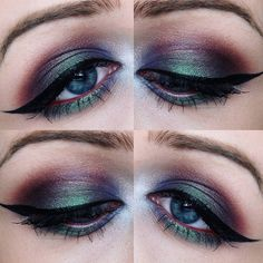 """""""Throwback to a look I did last month ✴Using the Kat Von D Mi Vida Loca Remix Palette. Tattoo Liner in Trooper, Too Faced Better Than Sex Mascara,…"""""""