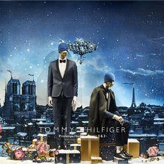 """CONTE DE PRINTEMPS À NOËL, Paris, France, """"Tommy Hilfiger for Printemps Homme"""", (Illustration Laurent Sanguinetti), pinned by Ton van der Veer"""