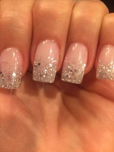 Nails Shellac Ombre Sparkle Ideas For 2019 wedding nails Silver Sparkle Nails, Glitter Tip Nails, Glitter Wedding Nails, Glitter French Manicure, Sparkle Wedding, Trendy Nails, Cute Nails, Faded Nails, French Tip Nails
