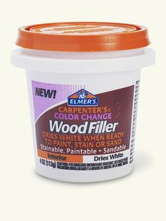 The rule with wood filler is, Sand when dry. But how to know? This filler takes out all the guesswork by shifting from a pink hue to white (or beige) when it's dry. Interior use only. | Carpenter's Color Change wood filler, by @elmersproducts