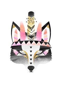 Indian Boho Wolf print. Watercolour / Digital by HelloPants