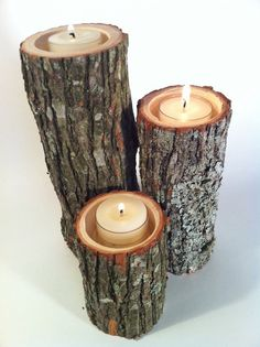 Tree Branch Candle Holders Set of 3 Heights- Rustic Wood Candle Holders, Tree…