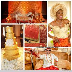 nigerian wedding orange and gold wedding colors