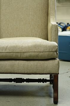 I like the fabric, this metallic works. #wingback #chair #furniture