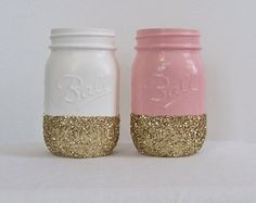 Pale Pink and Bright White Glitter Mason Jars (2). Perfect For Baby Showers, Weddings, Bridal Showers, Mother's Day, Valentines Day, Etc.