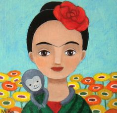 ORIGINAL PAINTING Illustration Frida Kahlo and Monkey by mikaart