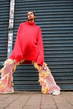 bright pink jumper knit textile pants
