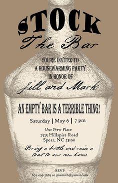 Stock The Bar Housewarming Invite, Pen and Ink Print, Bottle, Brown, Custom Printable Design