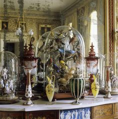 victorian belljar in the drawing room at calke abbey
