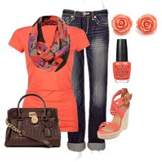 this is such a great pop of color for a casual yet chic spring outfit. Minus the earrings.