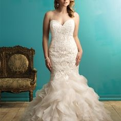 Allure Bridal Women Size Colleciton A beautiful combination of lace and tulle make this gown gorgeous. This fit and flare gown has a fitted lace bodice and a ruffled skirt. Plus Size Wedding Gowns, Bridal Wedding Dresses, Wedding Dress Styles, Wedding Attire, Bridesmaid Dresses, Wedding Bride, Wedding Ideas, Wedding Gate, Ivory Wedding