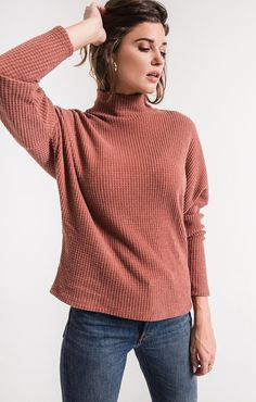 4f34370707a0d Z Supply mock neck waffle thermal top zt183513