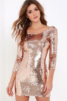 Happy Hour Rose Gold Sequin Dress at Lulus.com!