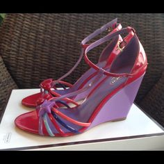 Coach Wedge sandals 💝🌺 Beautiful Coach wedge sandals in soft patent. Pink multi color. Worn a few times. Coach Shoes Sandals