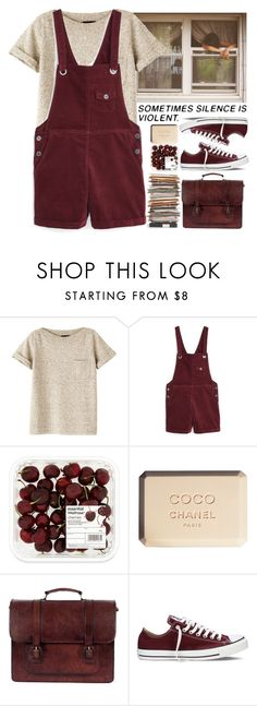 """""""Ready Or Not"""" by aguniaaa ❤ liked on Polyvore featuring A.P.C., MANGO, Chanel, Beara Beara and Converse"""