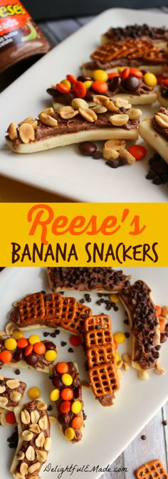 Sliced bananas are layered with Reese's Spread and topped with your favorite crunchy treats like pretzels, chocolate chips, Reese's Pieces and salted peanuts. The perfect snack to satisfy any craving!