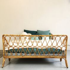 Lovely bamboo and rattan bed. Typical of the sixties. Rattan Daybed, West Africa, Bassinet, Mattress, Bamboo, Armchair, Liberia, Storage, House