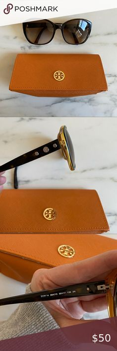 Tory Burch sunglasses & cases Tortoiseshell with yellow accent inside.  Normal wear - lenses do have scratches. Still wearable and in good condition.  Ear pieces need to be tightened but I don't have the tool for it! Will ship in glasses case Tory Burch Accessories Sunglasses Sunglasses Accessories, Sunglasses Case, Yellow Accents, Tortoise Shell, Lenses, Tory Burch, Ship, How To Wear, Closet