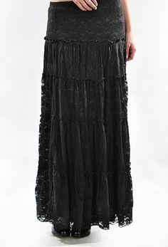 Jade Mackenzie - Long Black Lace Skirt, $30.00 (http://www.jademackenzie.com/long-black-lace-skirt/)