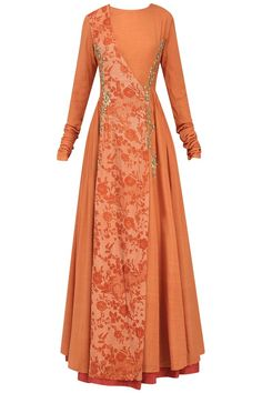 Natasha J presents Orange embroidered mesh print angrakha anarkali available only at Pernia's Pop Up Shop. Batik Fashion, Abaya Fashion, Muslim Fashion, Indian Fashion, Fashion Dresses, Dress Indian Style, Indian Dresses, Simple Dresses, Beautiful Dresses