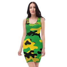 Make a statement and look fabulous in this all-over printed, Jamaica Land We Love Sublimation Cut & Sew Fitted Dress. The colours are vibrant and the fit is exquisite. Dress it up as you please and look and feel great while wearing it. Flag Colors, Colours, Spandex Material, Feeling Great, Our Love, Jamaica, Vibrant, Bodycon Dress, Printed