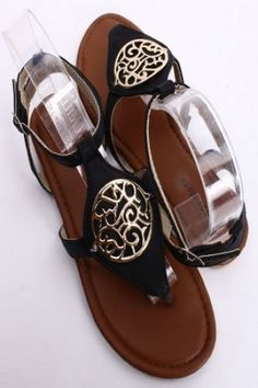 BLACK GOLD ACCENT DOUBLE ANKLE BACK STRAP THONG SANDALS