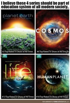 These 4 shows should be shown at every school. They tell us stories about our pl. by About Science Interesting Science Facts, Cool Science Facts, Wtf Fun Facts, Interesting Stuff, Life Science, Astronomy Facts, Space And Astronomy, Top Rated Tv Shows, Space Facts