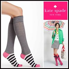 KATE SPADE Tall Boot Socks Knee Highs 💟 NEW WITH TAGS 💟  Kate Spade Tall Knee High Boot Socks  * Super soft & comfortable fabric * Opaque Knit construction (not sheer). * Stretch-to-fit * One size fits most; Pull on & to the knee style  Fabric: 67% Cotton, 31% Polyester & 2% spandex; Machine wash Item:91500 Color: Black, white & Pink combo  🚫No Trades🚫 ✅Bundle Discounts✅ Kate Spade Accessories Hosiery & Socks