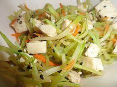 Tofu, Broccoli Slaw.  Healthy, fast, vegetarian dish!