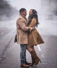 Sometimes I look at you and wonder how I got to be so damn lucky❣️ - Photo Submitted b Black Love Couples, Cute Couples, Winter Engagement, Engagement Couple, Engagement Photos, Engagement Ideas, Beautiful Couple, Black Is Beautiful, Winter Love