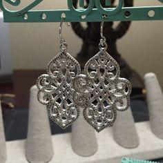 "Stella & Dot Joyce Chandelier Earrings Stunning chandelier earrings with over 450 set white faceted CZ stones. Silver plated brass. Sterling silver earwire. 2"" drop in length. Come in Stella & Dot box. Worn once to special event. Stella & Dot Jewelry Earrings"