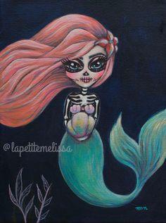 Coraline- Dia de Los Muertos Mermaid fine art print by Melissa Victoria Nebrida by LaPetiteMelissa on Etsy https://www.etsy.com/listing/251515009/coraline-dia-de-los-muertos-mermaid-fine