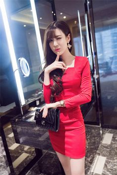 Bottoming V-neck pinched waist long sleeve sexy dress