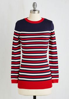 Star-Spangled Manner Sweater. Some days could use a little red, white, and blue, and this striped sweater is ready to deliver! #red #modcloth