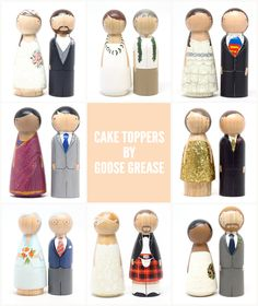 Loving these Wooden Wedding Cake Toppers by Goose Grease