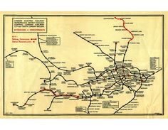 1930 London Underground Railway Map Poster Print Reproduction Electric Metropolitan Central City South Railroad Vintage Wall Fabric Decal by StreamlineDesign on Etsy Central City, London Transport, London Underground, Vintage Walls, Vintage World Maps, Poster Prints, Wall Fabric, Wall Art, Decal