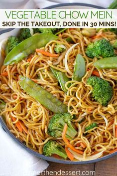 Vegetable Chow Mein made with celery, broccoli, cabbage, carrots, and bean sprouts mixed with chow mein noodles in a savory sauce ready in under Chow Mein Noodle Recipe, Veggie Chow Mein, Chicken Chow Mein, Chow Mein Recipe Vegetable, Healthy Chow Mein Recipe, Vegetable Recipes, Vegetarian Recipes, Cooking Recipes, Healthy Recipes