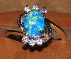 blue-fire-opal-Cz-ring-Gemstone-silver-jewelry-Sz-7-25-chic-cocktail-style-C22