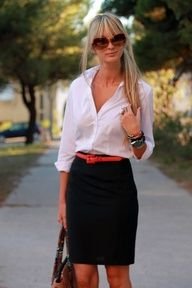 black pencil skirt, white top, colorful belt.