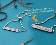 Adjustable Stainless Steel Bracelet, Personalize with your own message, Personalized Bracelet, Gifts for Her, Hand Stamped Jewelry #TwoSidedStamping #AdjustableBracelet #StainlessSteel #OneSizeFitsAll #HandStampedJewelry #TracyTayanDesigns #LongDistanceGift #CustomBracelet #PersonalizedJewelry #DreamBigBracelet