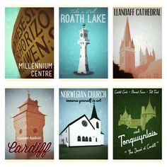 Cardiff landmarks inspired by vintage tourism posters.