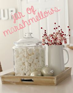 CHRISTmas decorations.  So cute! And once you get the jar, you can use it for other holidays as well. You could fill it with painted eggs for Easter, clovers for St. Patrick's day, and candy hearts for Valentines day!