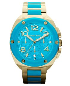 Michael Kors Chronograph Tribeca Turquoise Silicone and Gold Watch