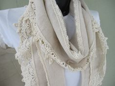 Oatmeal natural organic linen with cotton bobbin by Scarves2012, $23.00